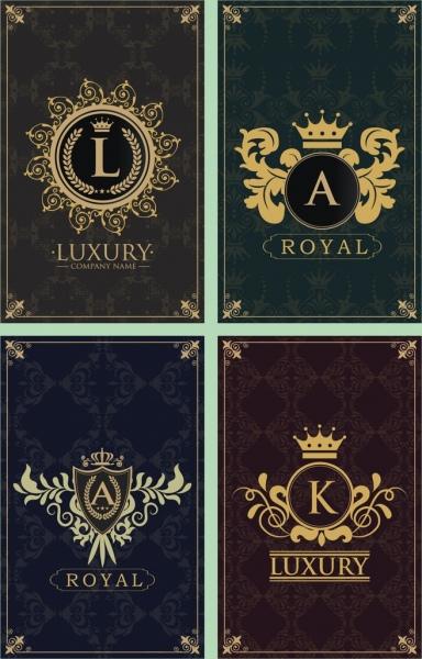 document decorative templates various royal logo decoration isolation