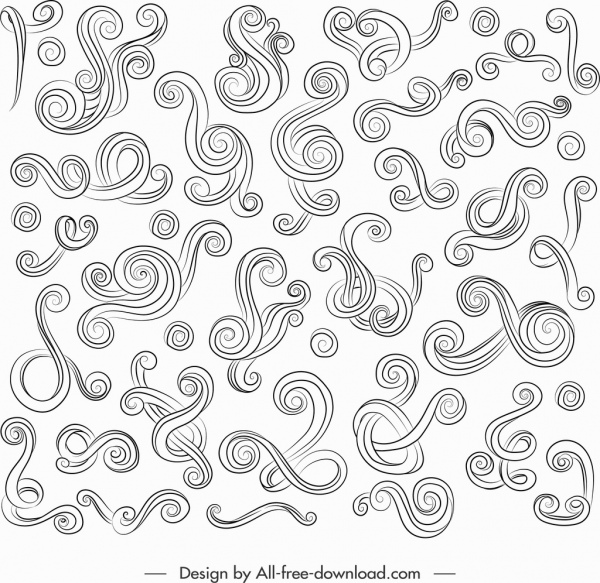 documents ornament elements collection swirled lines sketch