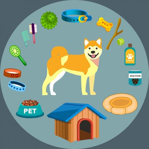 dog pet accessories icons 3d colored design