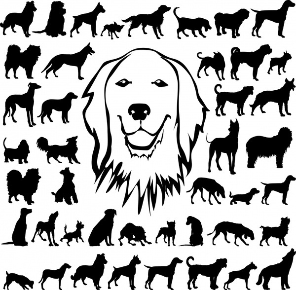 dog icons collection handdrawn silhouette sketch