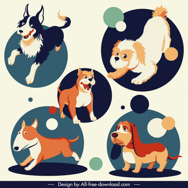 dogs species icons cute cartoon characters sketch