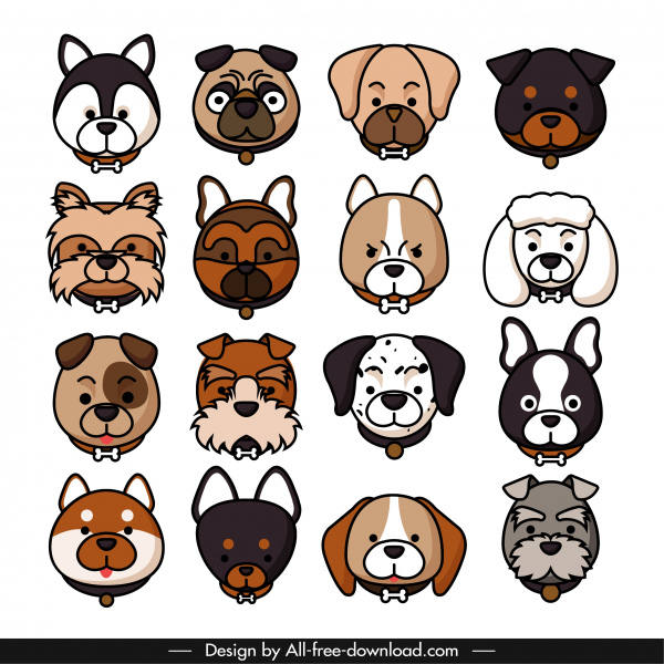 dogs species icons faces sketch cute design