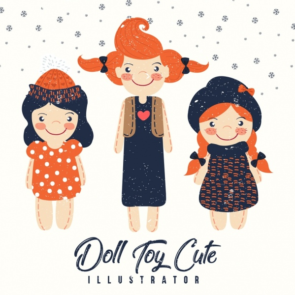 dolls background cute girl icons