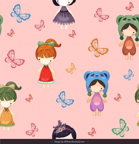 dolls pattern butterflies decor cute cartoon characters sketch