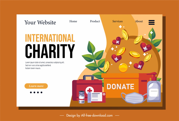 donation webpage template hearts coins medical supplies sketch
