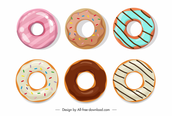 donut icons colored flat classic sketch
