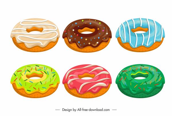 donuts design elements colorful tasty sketch