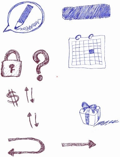 pen hand drawn sketch colored doodles elements design