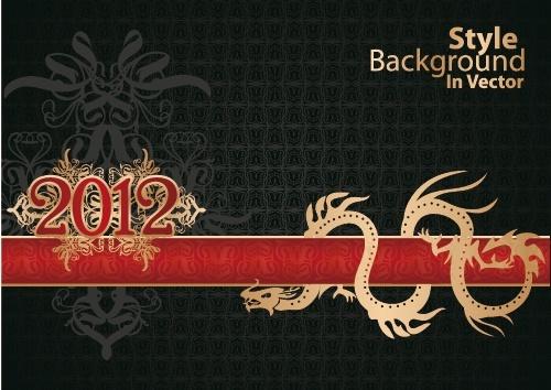 dragon calendar year background 01 vector
