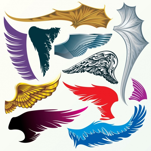 wing icons template shiny colored modern design