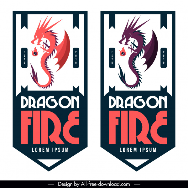 Dragon Tag Template Artistic Vertical Design Free Vector In Adobe Illustrator Ai Ai Format Encapsulated Postscript Eps Eps Format Format For Free Download 1 14mb
