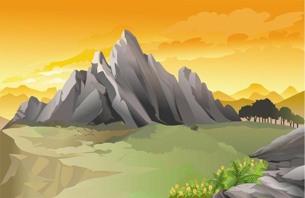 Landscape Illustration Vector Free: Beautiful Landscape Vector Illustration Free Vector