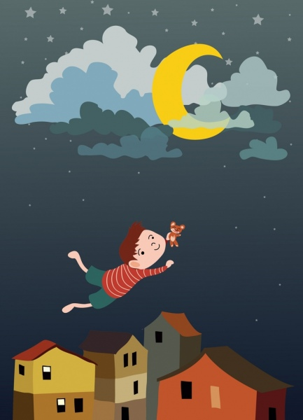 dream background flying kid icon colored cartoon design
