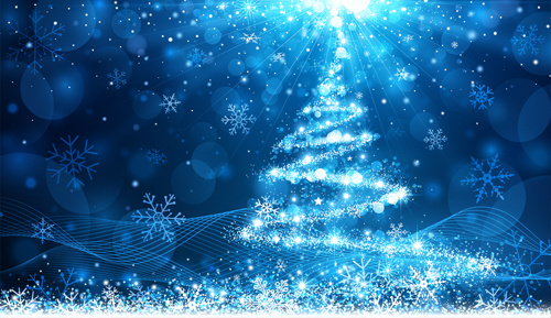 dream christmas tree blue background