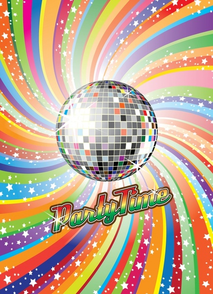 disco party background sparkling ball colorful twist decor