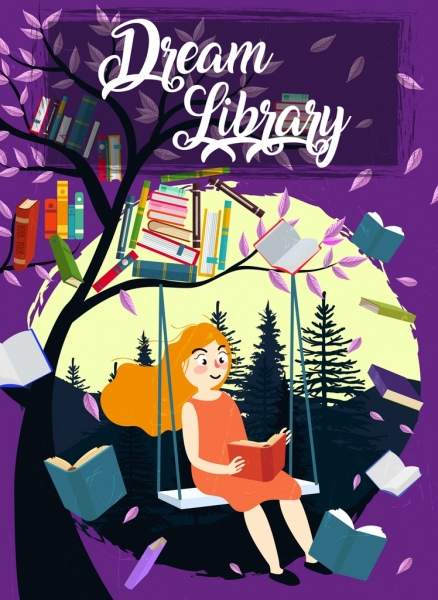 dream library banner woman tree flying books decoration