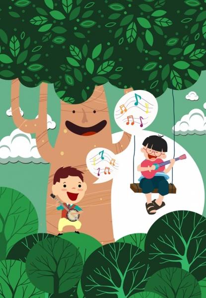 dreaming background joyful boys stylized tree colored cartoon