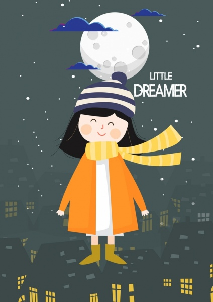 dreaming background little girl warm coat moonlight icons