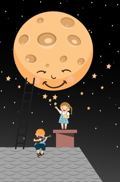 dreaming background stylized round moon playful kids icons