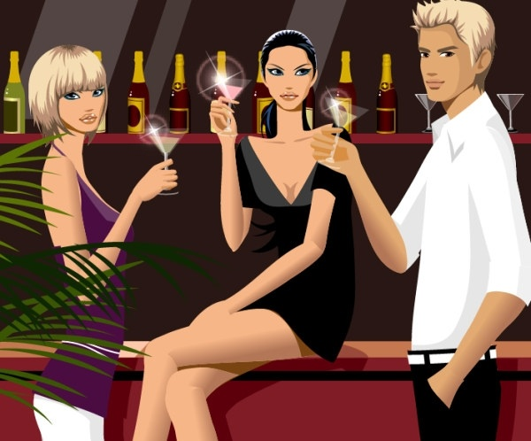 drinking men and women vector fashion