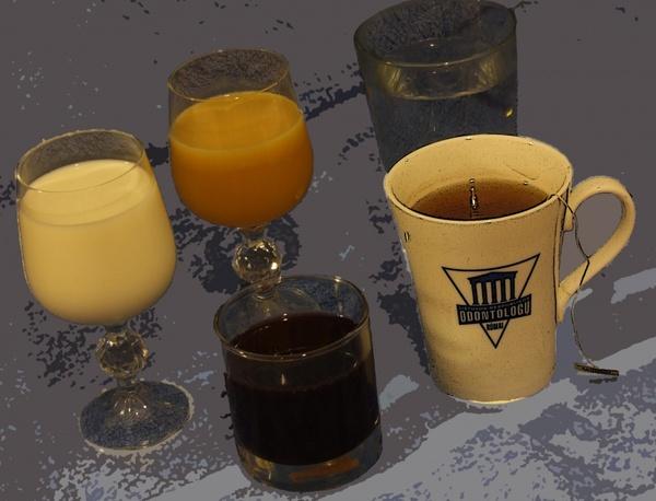 drinks water milk juice tea