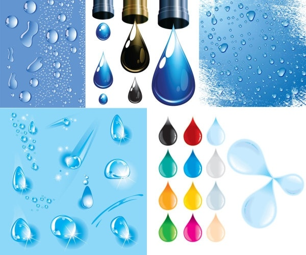 drops of water droplets theme vector