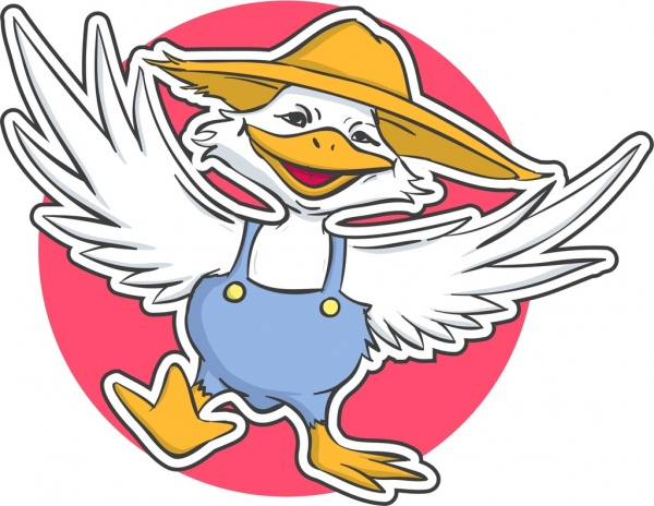 duck sticker template funny stylized cartoon character free vector