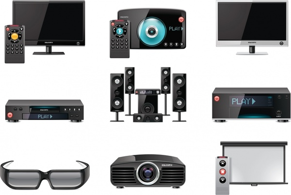 audio video device icons modern realistic sketch