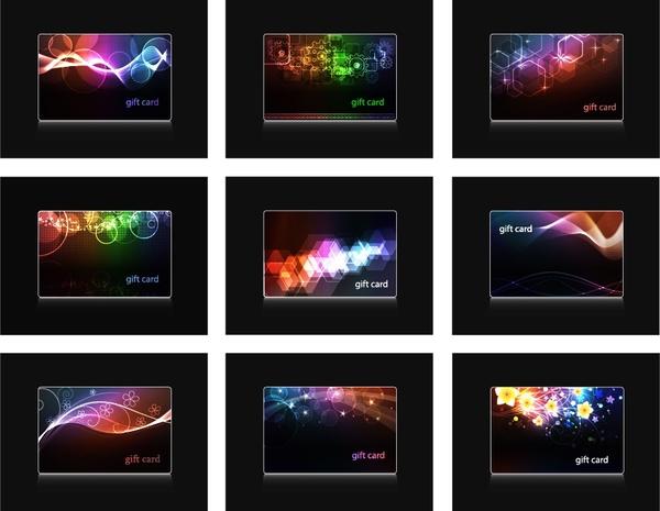 business card templates dark colorful light effect decor