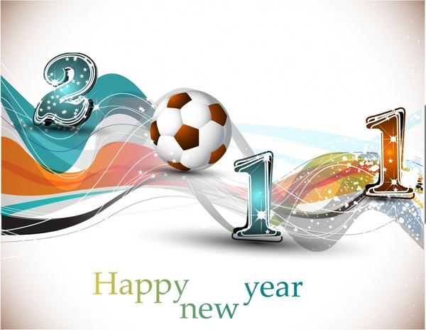 new year background sparkling numbers football icons decor