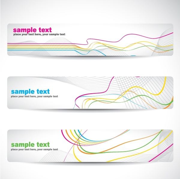 banner templates bright colorful dynamic curved lines decor