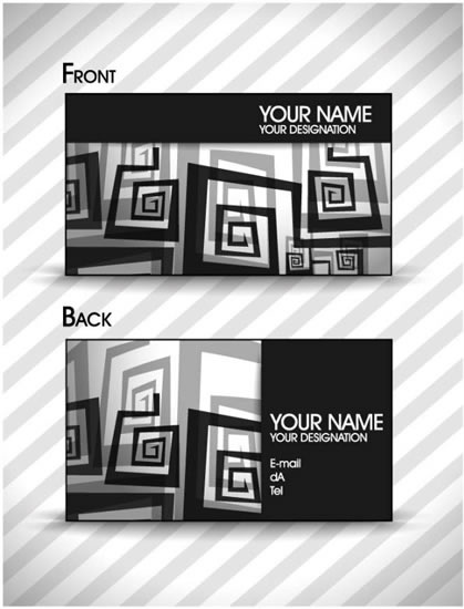 business card templates black white abstract deformed shapes
