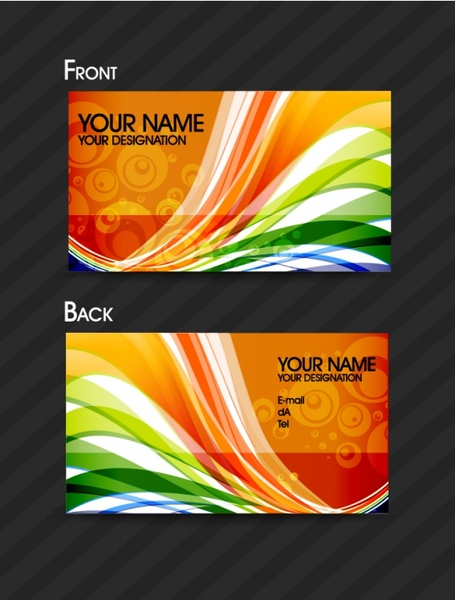 business card templates colorful dynamic decor modern abstract