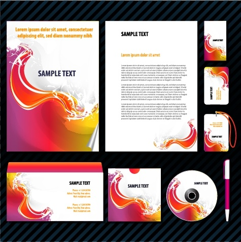 corporate identity sets modern colorful dynamic waves decor