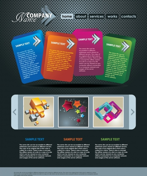 web navigation template elegant modern colorful geometric decor