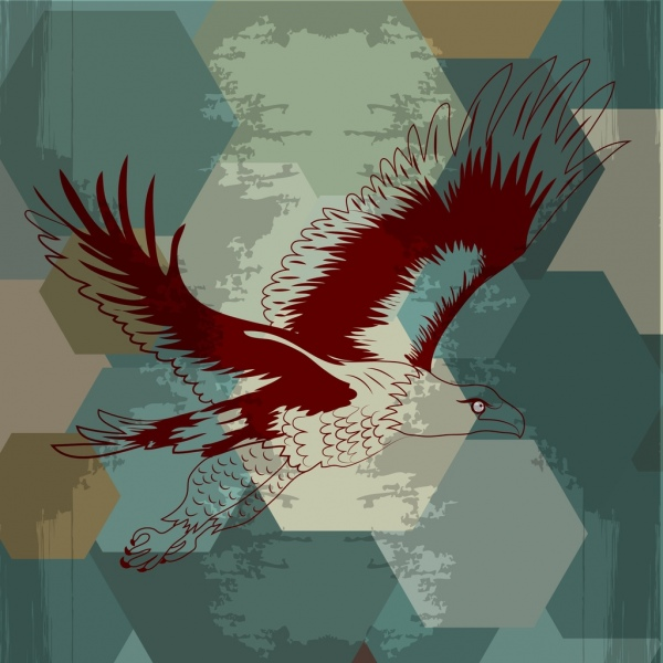 eagle flying icon sketch grunge vignette polygon background