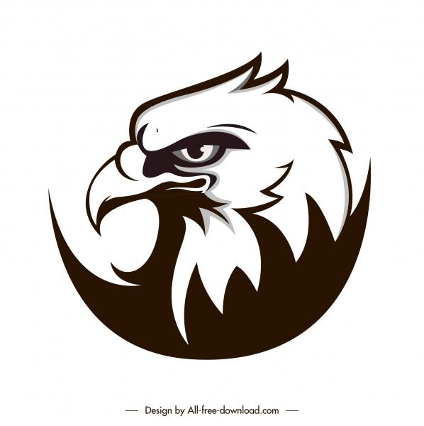 eagle head icon black white flat handdrawn sketch