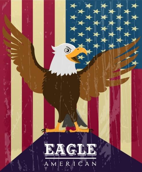 eagle icon design america flag background retro style