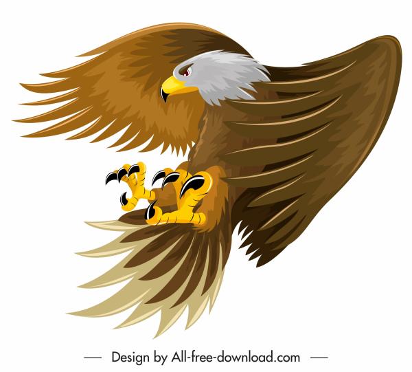 eagle icon hunting sketch colored cartoon design