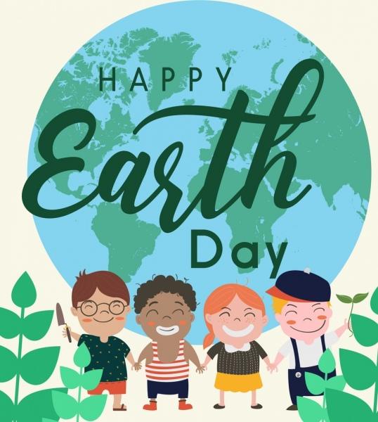 earth day banner globe children icons decor