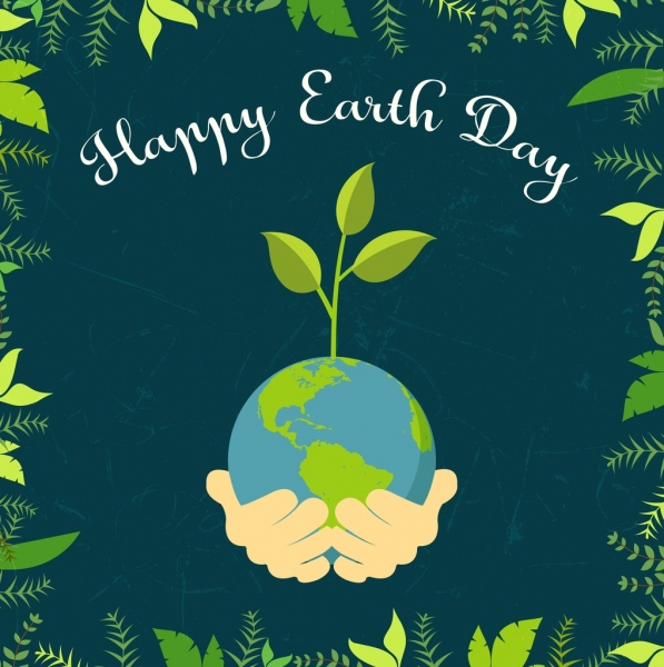 earth day banner hand globe green leaves icons