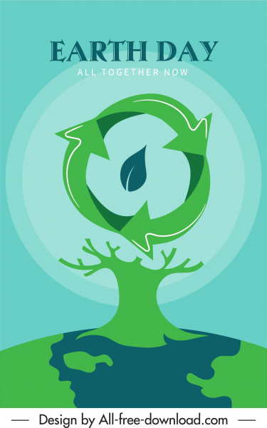 earth day banner leafless tree recycle sign decor