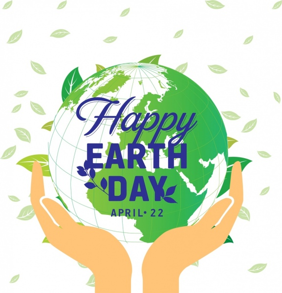 Earth day banner leaves hand green globe icons Free vector