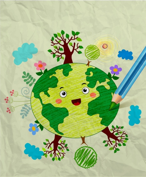 Earth Day Drawing Colorful Handdrawn Sketch Stylized Earth Free