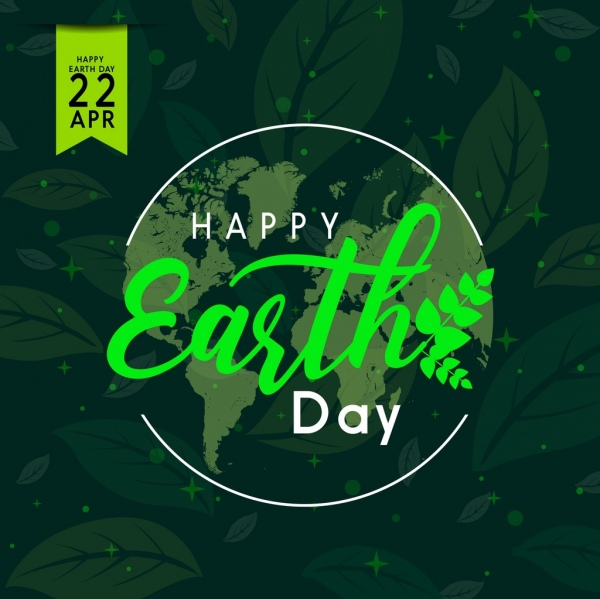 earth day poster green leaves background calligraphy decor