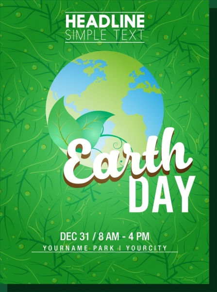 earth day poster green leaves background earth decoration