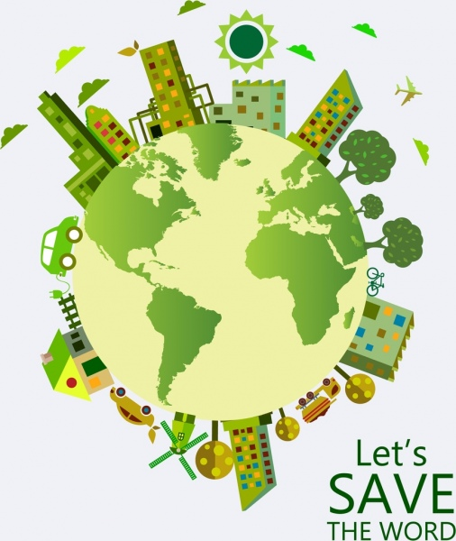earth day poster green planet buildings trees icons