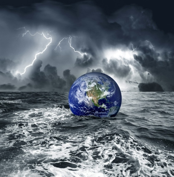 earth floating in the ocean