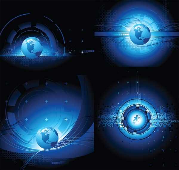 earth science and technology theme vector background sense