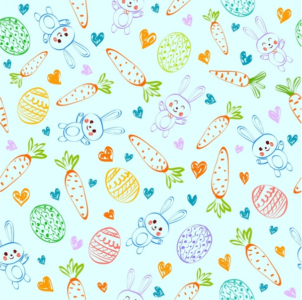 easter background carrot bunny egg icons repeating sketch